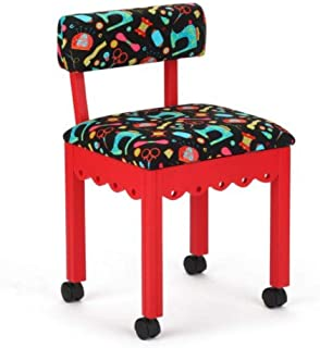 Arrow Sewing Cabinet Black Sewing Notions Chair with Gingerbread Scallops - Red Finish