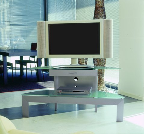 Mobile-TV Ellipse 120mit Schublade aus gebürstetem Aluminium gebürstet Hand Tischplatte und Ablage aus gehärtetem Glas sandgestrahlt