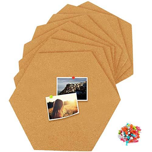 Alumuk Sechseckig Korkplatte 8 Stück selbstklebend, Mini-Wand Bulletin Tafeln Korktafeln Pinnwand Korkwand für Bilder, Notizen, Heimdekoration und Büro mit 50 Stück Pinnnadeln