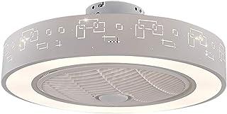 SMG Potenciar Ventilador De Techo De Edificio Con Mando A Distancia Y Luces LED, Ventilador De Moda, Silent Motor, 3 Velocidad Interruptor De Temperatura De 3 Colores 220V 55 Cm
