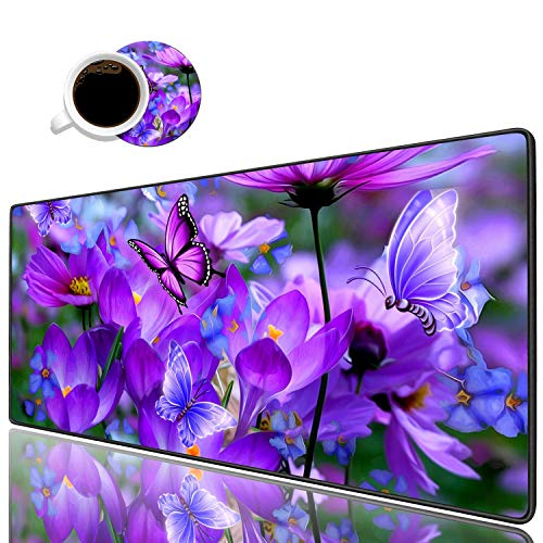 Desk Pad Mat Gaming Mouse Pads with Coasters, Stitched Edges Design Mouse Pad XXL Large Mouse Pad for Laptop Computers Purple Flowers and Butterflies Desk Writing Mat for Office & Home 31.5'x 11.8'