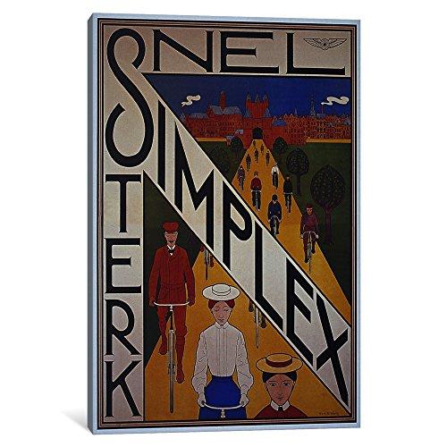 iCanvasART, Snel Simplex Fahrrad Werbung Vintage Poster Leinwand Print von unbekannten Künstler, 0.75 by 18 by 12-Inch