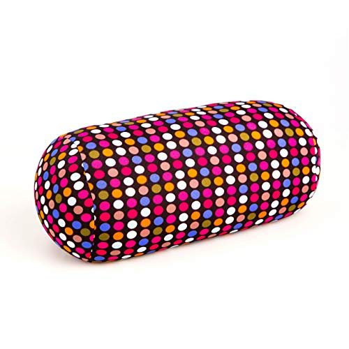 Cushie Pillows 7 inches x 12 inches Microbead Bolster Squishy/Flexible/Extremely Comfortable Roll Pillow (Polkadots)