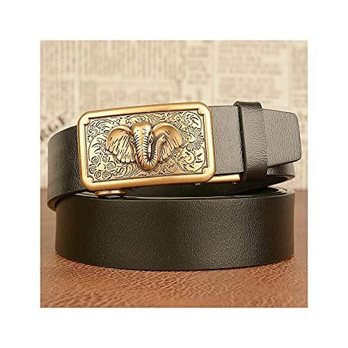 GHRFZC Los Hombres De La Moda Cinturón Animal Elephant Alivio Retro Reloj Automático Personalidad De Cinturón Casual Lisa Tejer Casual Cinturón Jeans Cintura, Cinturón Negro Hebilla De Oro, 110Cm