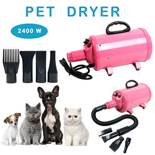 YaeCCC Portable Dog Cat Pet Grooming Dryer 2400w Salon Blow Hair Dryer Quick Draw Hairdryer with...