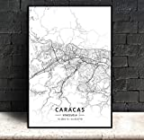 ZWXDMY Leinwand Bild,Caracas Venezuela Stadtplan Drucken