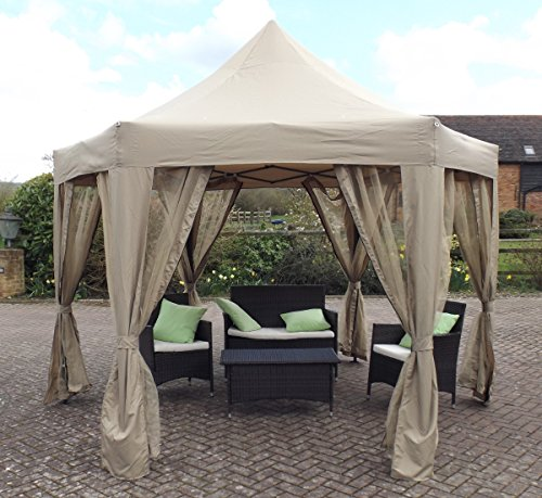 HORWOOD GARDEN METAL FRAME POP UP FOLDING HEXAGONAL GAZEBO BEIGE FABRIC 3.6M X 3M WITH NET CURTAINS