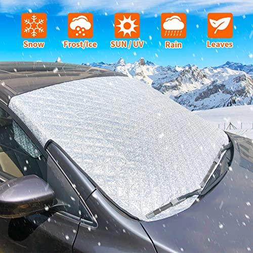Frontscheibenabdeckung Auto, Scheibenabdeckung Auto Sonnenschutz Abdeckung Fixierung Faltbare Windschutzscheibe Auto Abdeckung perfekte gegen UV-Strahlung, Sonne, Staub, EIS, Frost, Schnee
