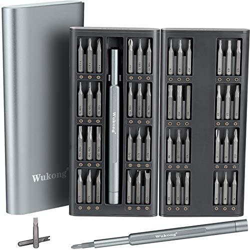 Wukong Set di Cacciaviti Magnetici di Precisione, 49 in 1 Kit Cacciaviti di Riparazione con Custodia in Alluminio per Occhiali, Smartphone, Cellulare, PC, Laptop, Elettronica