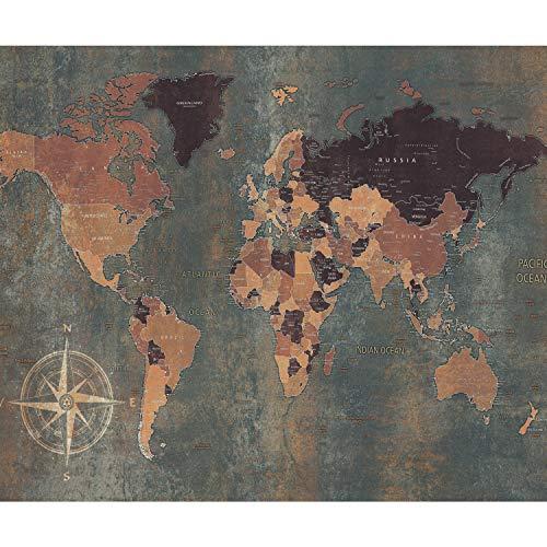 decomonkey Fototapete Weltkarte 300x210 cm XXL Tapete Wandbild Bild Fototapeten Tapeten Wandtapete Vintage Retro Kontinent Landkarte