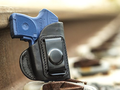 OutBags USA LS4LCPX (Black-Right) Full Grain Heavy Leather IWB Conceal Carry Gun Holster for Ruger LCP 380 with Crimson Trace Laser. Handcrafted in USA.