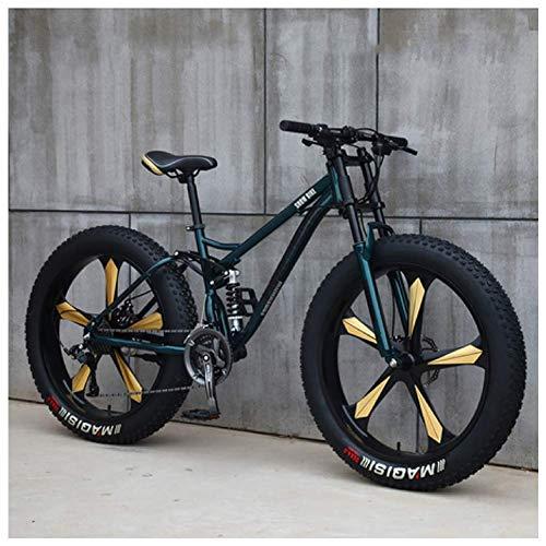 AMITD Mountainbike MTB, 26 Zoll Fette Reifen Fahrrad, Fahrrad mit Scheibenbremsen, Rahmen aus Kohlenstoffstahl, MTB Fahrrad für Herren und Damen,7 Speed,Green 5 Spoke