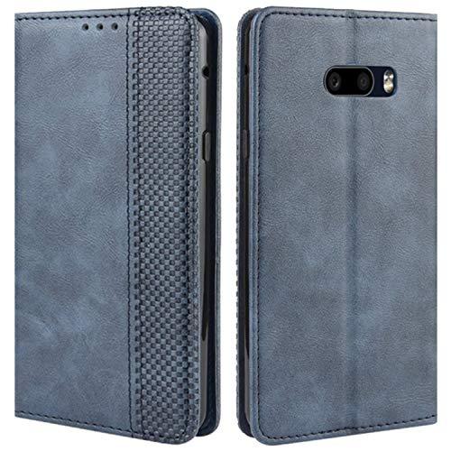 HualuBro Handyhülle für LG G8X ThinQ Hülle, LG V50S ThinQ Hülle, Retro Leder Stoßfest Klapphülle Schutzhülle Handytasche LederHülle Flip Hülle Cover für LG G8X ThinQ Tasche, Blau