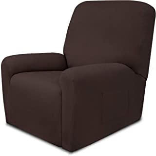 Easy-Going Recliner Fleece Stretch 4-Piece Sofa Slipcover Spandex Anti-Slip Soft Couch Sofa Cover with Pocket, Washable Furniture Protector with Elastic Bottom for Kids, Pets(Recliner,Chocolate)