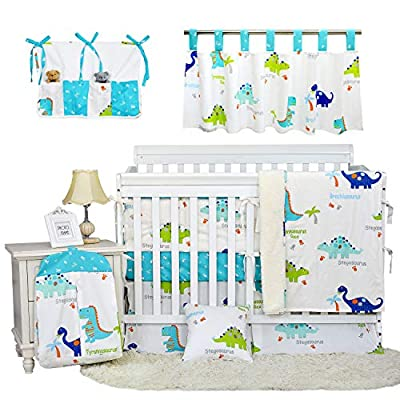 Brandream Baby Boys Dinosaur Crib Bedding Sets with Bumper Pad 100% Cotton Blue/ White Nursery Bedding Dinosaur Collection, 11 Piece