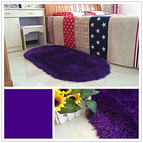 HIGHKAS Verdickter gewaschener Seidenteppich für Wohnzimmer, Couchtisch, Decke, Schlafzimmer, Nachttisch, Yoga-Teppich, einfarbig, Plüsch-Teppich, 80x160cm