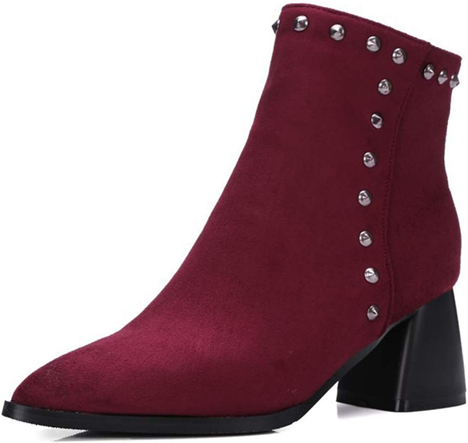 GIY Women's Retro Pointed Toe Ankle Boots Suede Platform Chunky Block Heel Bootie Studded Rivet Short Boot