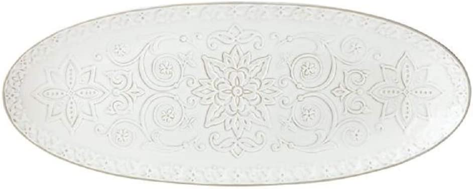 Direct stock discount Lenox Global Tapestry Oval Serving 4.55 White Max 45% OFF Platter LB