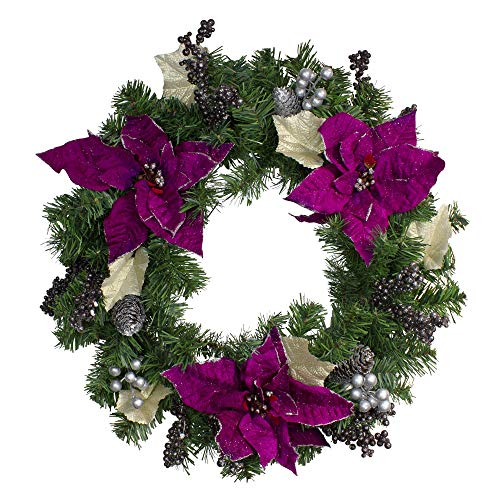 Northlight Purple Poinsettia and Silver Pine Cone Artificial Christmas Wreath - 24-Inch, Unlit
