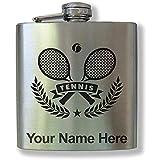 Frasco de acero inoxidable, raquetas de tenis, grabado personalizado incluido