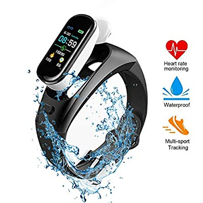 Tenlso Heart Rate Monitor, 2 in 1 Fitness Tracker Smart Watch & 5.0 True Wireless Earbuds with Waterproof Wristband, Sleep Monitor, LED Color Screen, Pedometer Watch for Men Women