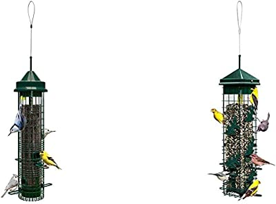 Squirrel Buster Classic Squirrel-Proof Bird Feeder w/4 Feeding Ports, 2.4-Pound Seed Capacity & el Solution200 Squirrel-Proof Bird Feeder w/6 Feeding Ports, 3.4-Pound Seed Capacity, Free Seed Funnel