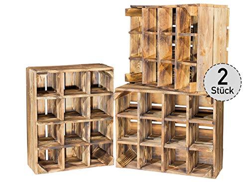2er Set neue geflammte Kiste für Flaschenregal- Weinregal Weinkiste Flaschenkiste Flaschenlagerung Aufbewahrung von Flaschen Weinflaschen Obstkiste Holzkiste Dekokiste Weinkiste 50x40x23cm