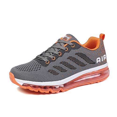 smarten Sportschuhe Herren Damen Laufschuhe Unisex Turnschuhe Air Atmungsaktiv Running Schuhe mit Luftpolster Grey Orange 39 EU