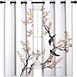 MRFSY Cortinas opacas para dormitorio con pintura tradicional china de flores, ciruelo, pájaros en árbol, Romance, suave cortina opaca para sala de estar, 107 x 160 cm