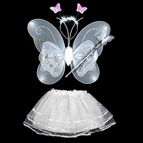 HuntGold Costume bébé fille fée ange Scène photo Papillon + Baguette + bandeau + Robe Set (Blanc)