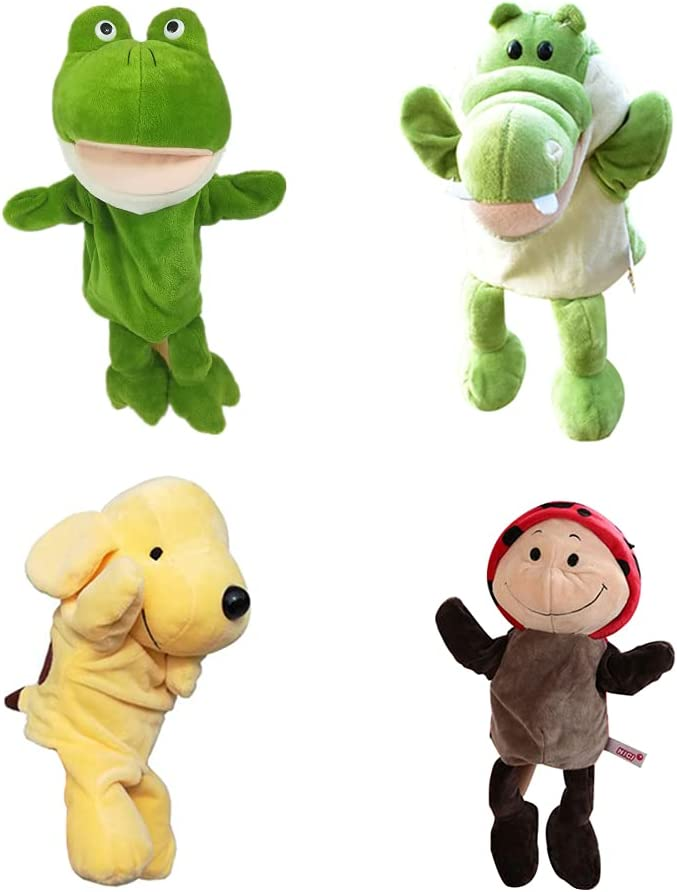 4-Piece Set Ranking integrated 1st place of Animal Hand Puppets Plush Cloth Ha 9.5-inch Soft Genuine Free Shipping