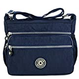 MINGZE Mujer Bolsos de Moda, Impermeable Mochilas Bolsas de Viaje Bolso Bandolera Sport Messenger Bag Bolsos Mano para Escolares Nylon Casual Shopper (Azul)