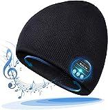 Bonnet Bluetooth 5.0 Idee Cadeau pour Homme/Femme, Running Bonnet Connecté avec HiFi mp3 Musique, Chaud Chapeau Hiver Tech Accessoires pour Snowboard, Ski, Course. (Noir)