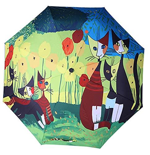 XIKONG Mini Paraguas a Prueba de Viento compactas de Viaje - Pequeños Paraguas Luminosos y de Lluvia Plegables con protección UV para Mujeres Hombres Blue