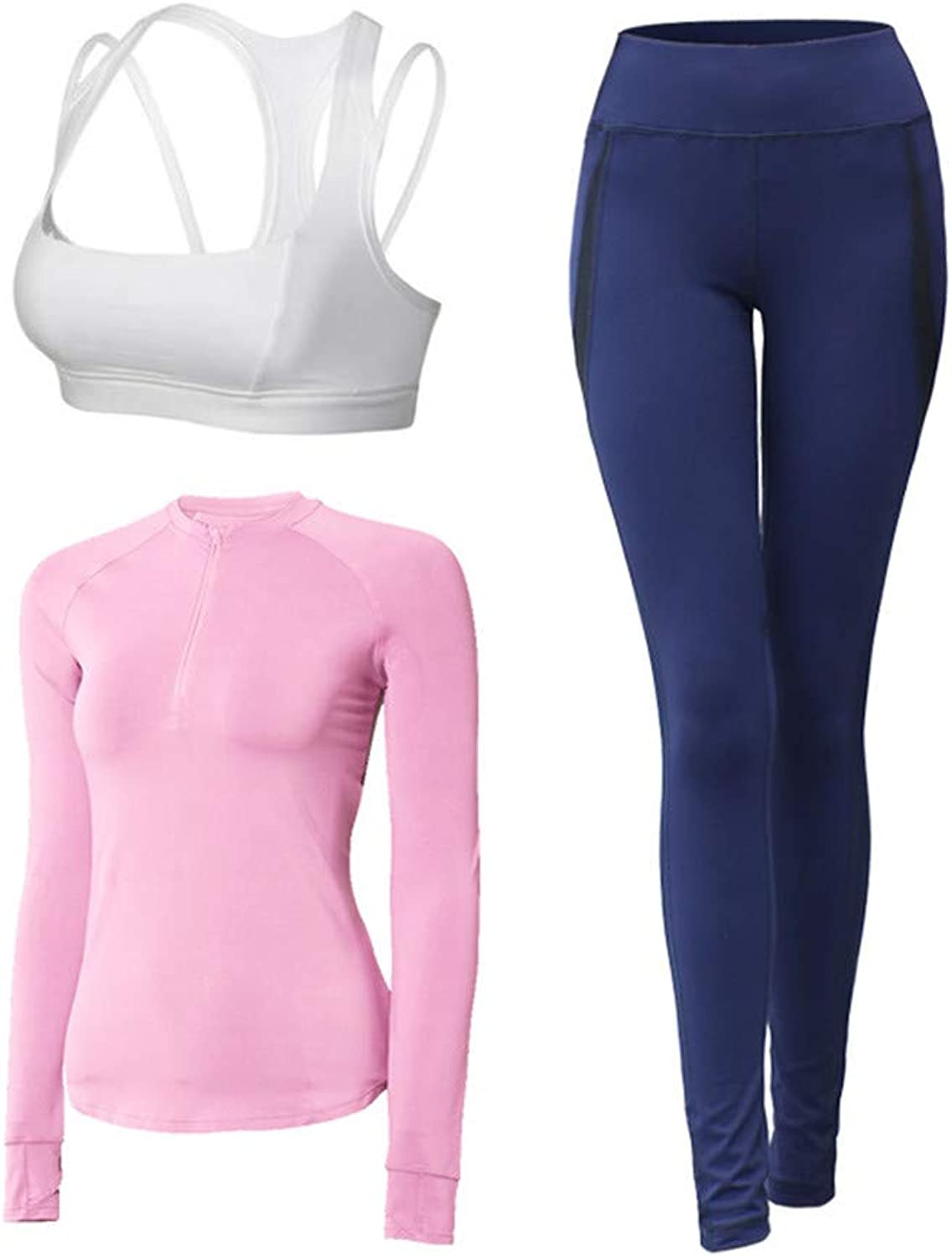 Ladies Fitness Training Set Outfit Women's Sports Suit 3pc Sets Bra +Long Sleeve + Leggings Elasticity Fitness Suits for Yoga Running Activities for Gym Running Yoga Gym (color   Pink, Size   XL)