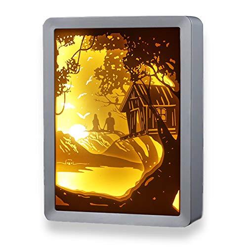 CHSHY Dekorative 3D-Papier-Carving-Lampe, Papercut Light Boxen, Nachtlampe Creative Shadow Box Cut Light Box Warm Romantic Atmosphere