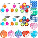 GAMTOOCA 15 PCS Mini Pop Fidget Toy Keychain, Simple Dimple Toys Pack Fidget Spinner Toys Bulk Bubble Popping Sensory Toy Silicone Anxiety Stress Relief Toys Gift for Kids Adults