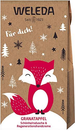 WELEDA Nikolaus und Wichtel Set Granatapfel 2020 - Naturkosmetik Geschenkset bestehend aus Granatapfel Schönheits-Dusche (20 ml) & Handcreme (10 ml) in einem ansprechenden Geschenktütchen