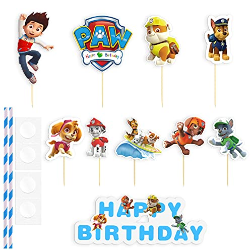 HONGECB Decoración Para Tartas Infantiles, Cupcake Toppers, Decoración Tarta De Niños, Patrulla de perros Para Cumpleaños De Niños, Fiesta De Baby Shower, Diy Tema Decoración De Tartas, 37 Piezas
