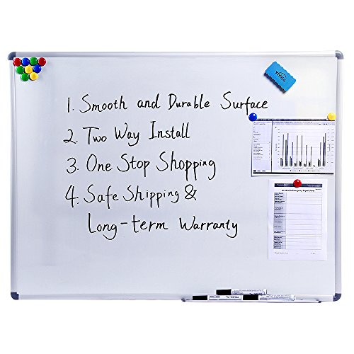 """Dry Erase Board with Aluminum Frame - Magnetic Dry Erase Board, Wall Size White Board, VIVREAL Dry Erase Board with 3 Erasers and 12 Magnets 48"""" x 36"""" Dry Erase Board 4' x 3' Dry Erase Board"""