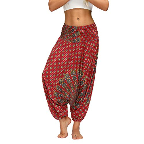 Lazzboy Store Damen Hose Haremshose Pumphose Aladinhose Einheitsgröße In Vielen Farben Frauen Casual Print Yoga Track Lose Hosen Elastic Waist Bloomers Lange(B,One Size)