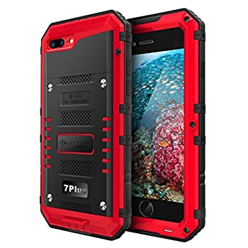 Beasyjoy iPhone 7 Plus Case iPhone 8 Plus Metal Case Heavy Duty Waterproof Screen Full Body Protective Shockproof Tough Rugged Hybrid Military Grade Defender Outdoor Red