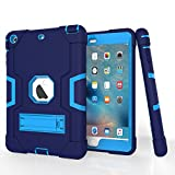 iPad Mini Case, Mini 2 Case, Mini 3 Case, Rugged Kickstand Series - Shockproof Heavy Duty Hybrid Three Layer Armor Defender Kids Child Proof Case Cover for iPad Mini 1/2/3 -Blue