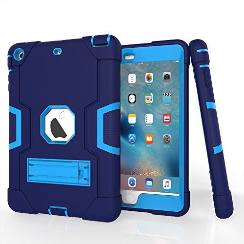 iPad Mini Case, Mini 2 Case, Mini 3 Case, Rugged Kickstand Series - Shockproof Heavy Duty Hybrid Three Layer Armor Defender Kids Child Proof Case Cover for iPad Mini 1/2/3 -Blue