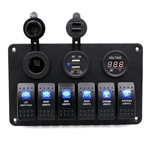 FWUDI Interruptor de Encendido 12V Dual Voltímetro USB Combinación Panel Dual Interruptor de la luz 6-posición, Conveniente for Coches, Barcos, océanos, Camiones, Motocicletas