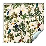 Muralo Papier Peint Oiseaux et Plantes Exotiques Style Vintage Vinyle Exotiques Végétation Feuilles - 257368631