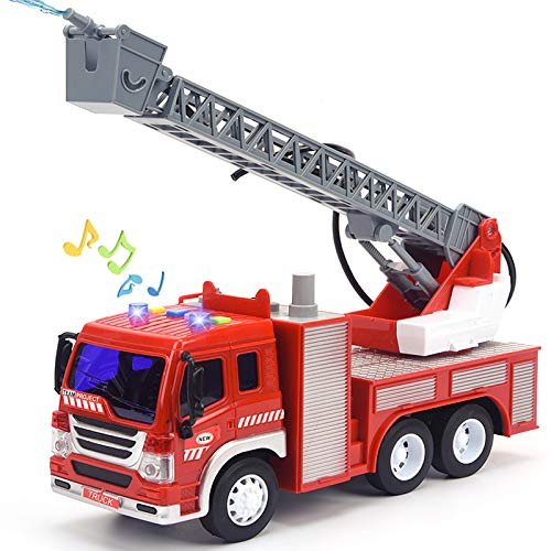 Fire Truck Toy with Lights and Sounds, 10.5' Friction Powered Car Fire Engine Truck with Water Pump, Sirens and Extending Ladder Firefighter Toy Truck for Toddler, 1:16 Scale Toy Car