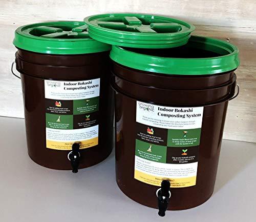 2 Bucket Bokashi Composting System | Simple In-Home Composting Bin (2 lbs of Kashi Blend) (2 lbs of Kashi Blend)