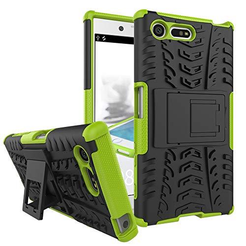 pinlu Funda para Sony Xperia X Compact (4.6 Pulgada) Smartphone Doble Capa Híbrida Armadura Silicona TPU + PC Armor Heavy Duty Case Duradero Protección Neumáticos Patrón Verde