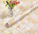 Wdragon 3d pour Dosseret dalles autoadhésives en marbre brillant film de vinyle de cuisine Countertop Peel bâton Rouleau de...